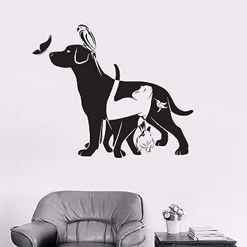 LLLYZZ Perro Gato Pájaro Conejo Animal Veterinario vinilo tatuajes de pared decoración para el hogar diy