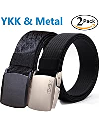 Men's Military Tactical Web Belt, Nylon Canvas Webbing YKK Plastic Buckle Belt