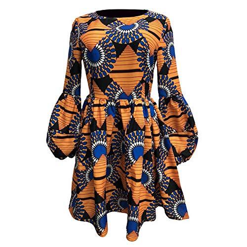 TRENTON Women's Dresses, Ethnic Fan Shape Print Slim 3/4 Puff Sleeve Round Neck Swing Mini Dress for Birthday Gift Yellow L