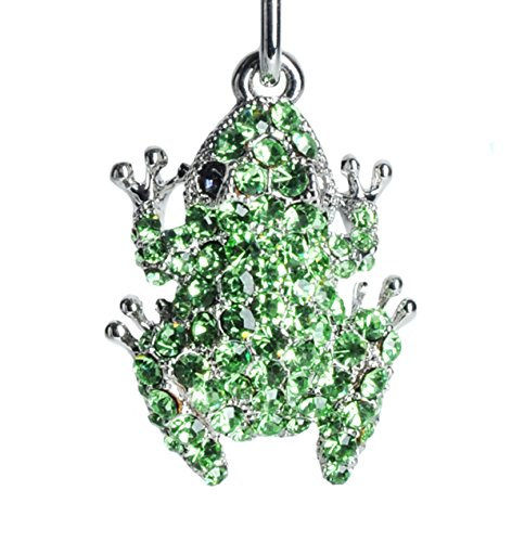 Lilly Rocket Lucky Green Frog Bling Swarovski Rhinestone Crystal Charm Pendant Purse Bag Key Ring Chain