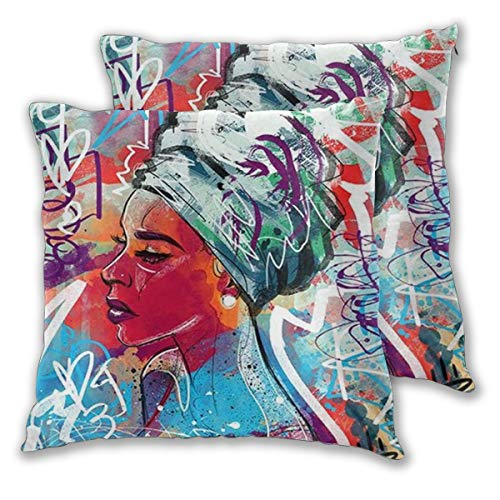 African American Black Woman Abstract Graffiti Print Throw Pillow Case Zipper Square Pillowslip Waist Cushion Decoration Case Cover for Sofa Living Room Home Bedding Decor 22x22 Inch Set of 2