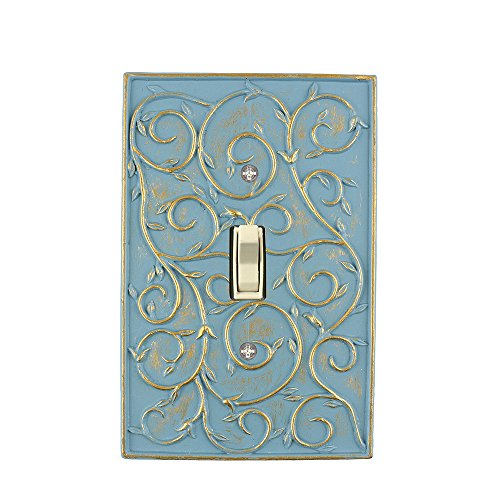 Meriville French Scroll 1 Toggle Wallplate, Single Switch Electrical Cover Plate, Cameo Blue with Gold