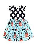 BHYDRY Halloween Toddler Kids Baby Girls Pumpkin Cartoon Princess Dress Outfits Clothes Cotton Blend Costume(UK-5T/CN-110,Blue)