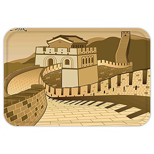 China Cultural Costume (VROSELV Custom Door MatAsian Decor Great Wall Of China With Ancient Castle At Sunset Silk Road Barrier Old Cultural Heritage Print Decor Cream)