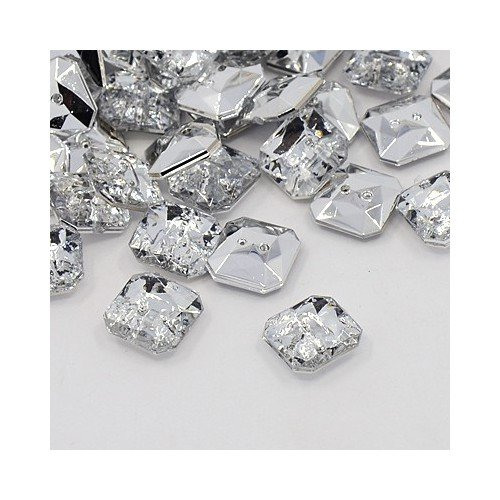 Packet of 20 x Clear Acrylic 11mm Faceted Square Buttons (2 Hole) - (Y07440) - Charming Beads ()