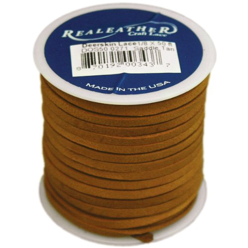 Realeather Crafts Deerskin Lace, Saddle Tan