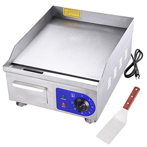 AMPERSAND SHOPS Commercial Grade Restaurant Stainless Steel Cast Iron Surface Electric Griddle Grill for Burgers Tacos Food Trucks Fair 15″ x 14.5″