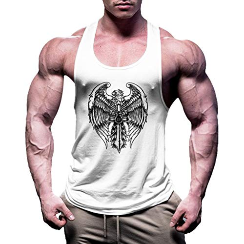 Stringer Canotta Shirt Bianca Uomo Bodybuilding Gyms Fitness Jixuan Allenamento Muscle dZq7w4ZX