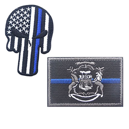 Embroidery USA MICHIGAN State Flag and Punisher Tactical patches (3