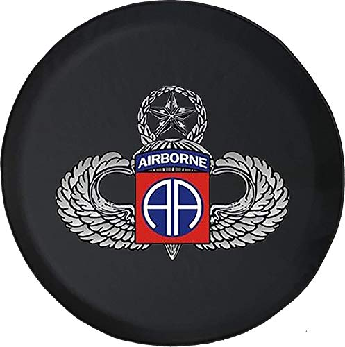 Black Airborne Wing - 556 Gear Military Airborne Silver Jump Wings Jeep RV Spare Tire Cover Black 33 in