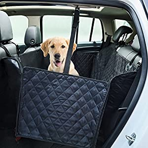 GEMEK Waterproof Dog Car Back Seat Cover, Black Pet Backseat Protector Hammock Bench Rear Non-Slip Backing Anchors Side Flaps Machine Wash for Auto Truck and SUV 110