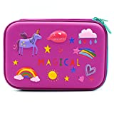 3D Rainbow Unicorn Embossed Hardtop Pencil Case - School Girls Large Colored Pen Holder Box with Compartments - Kids Cute Cosmetic Pouch Bag Stationery Organizer (Purple)
