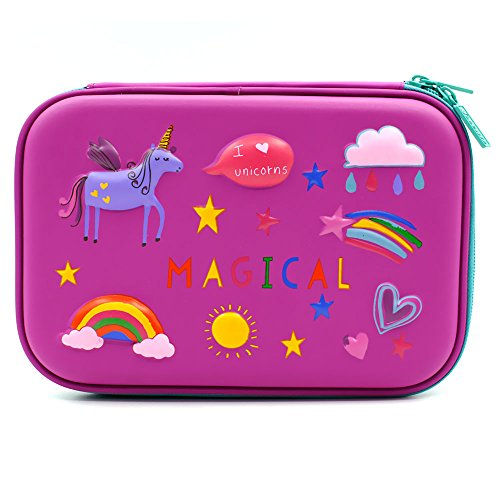 3D Rainbow Unicorn Embossed Hardtop Pencil Case - School Girls Large Colored Pen Holder Box with Compartments - Kids Cute Cosmetic Pouch Bag Stationery Organizer (Purple) by SOOCUTE