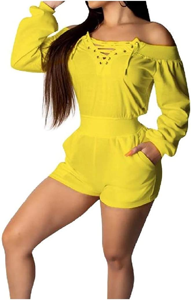 Coolred-Women Long-Sleeve Bandage Pure Color Shorts Romper Playsuit with Pockets
