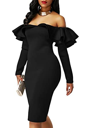 412631502 BeneGreat Women s Off Shouldder Long Sleeve Midi Bodycon Cocktail Party  Dress with Ruffle Details Black S