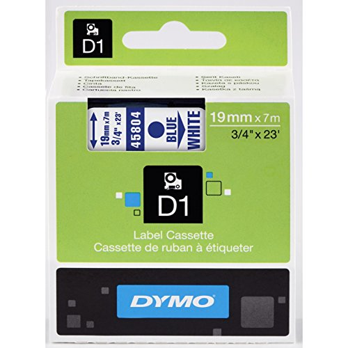 DYMO Standard D1 Self-Adhesive Polyester Tape for Label Makers, 3/4-inch, Blue Type on White, 23-foot Cartridge (45804)
