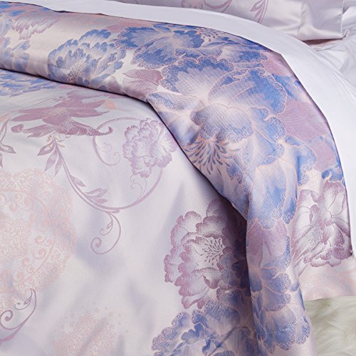 Woven Memories - Luxurious Duvet Cover Sets Cotton Rich Silky Woven Jacquard Breathable Stain and Fade Resistant Hypoallergenic Memories of Italy (Portofino, Queen)