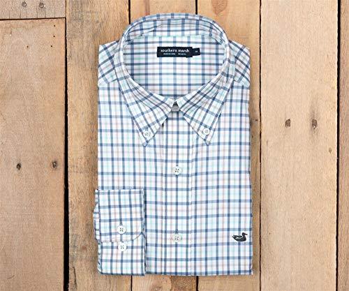 Southern Marsh Men's Cameron Performance Gingham Shirt, Antigua Blue/White, Large Cameron Button Down Shirt