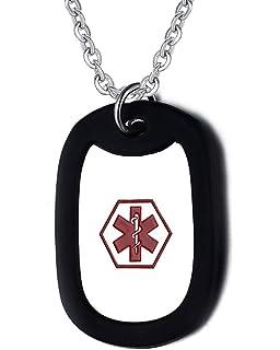 ca626fbb2036 Flongo Edelstahl Silikon Kautschuk Anhänger Halskette Kette Silber Schwarz  Rot Kostenlose Gravur Dog Tag Medical Alert