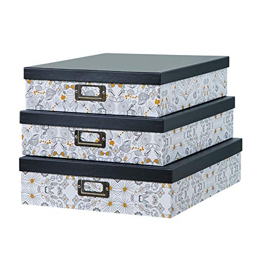 SLPR Decorative Storage Cardboard Boxes with Metal Plate (Set of 3, Black and Gold) | Nesting Gift Boxes with Lid for Keepsake Toys Photos Memories Closet Nursery Office Bedroom Decoration