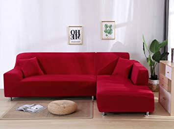 JiaQi Color sólido Funda de sofá,Stretch Tela Protector para sofás,Four Seasons Anti-mite Protector de Mascota Perro Gato Guardapolvo-AF 4 plazas: ...