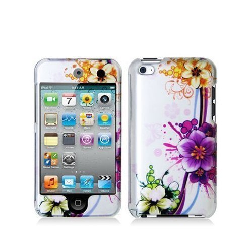 Purple Flower 2d Hard Snap-on Crystal Skin Case Cover Accessory for Ipod Touch 4th Generation 4g 4 8gb 32gb ()