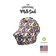AS SEEN ON SHARK TANK The Original Milk Snob Infant Car Seat Cover and Nursing Cover Multi-Use 360° Coverage Breathable Stretchy  Olive & Ivory Pinstripes