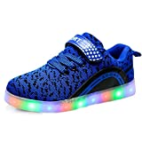 LED Flashing Sneakers Light Up Sport Shoes for Boys Girls Breathable USB Charge for Christmas Halloween(Blue 3 M US Little Kid)