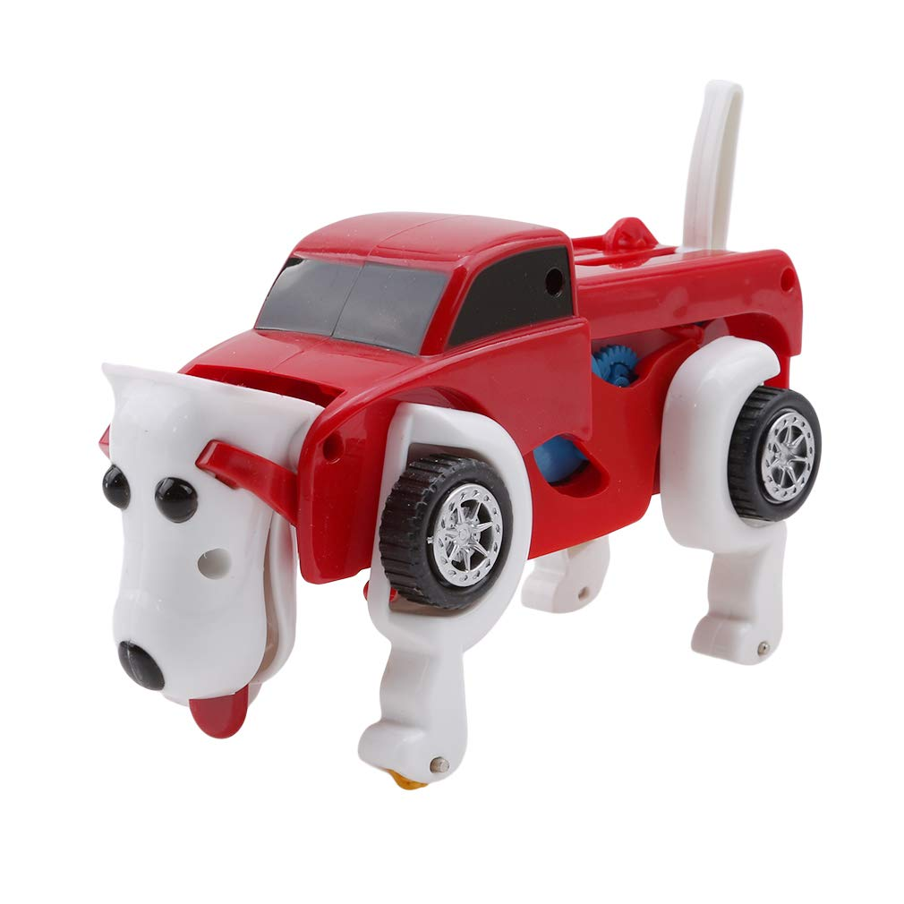Yinew The Dog Car Transformer Toy, Novelty Clockwork Deformable Car Dog Kids Toy Educational Toy New Year Gift,Red