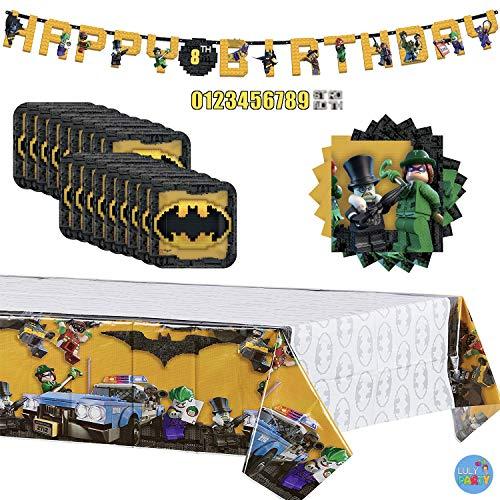 Batman Lego Birthday Party Supplies Set for 16 Guests: Batman Lego Paper Plates, Batman Lego Beverage Napkins, Batman Lego Table Cover and Batman Lego Happy Birthday Banner