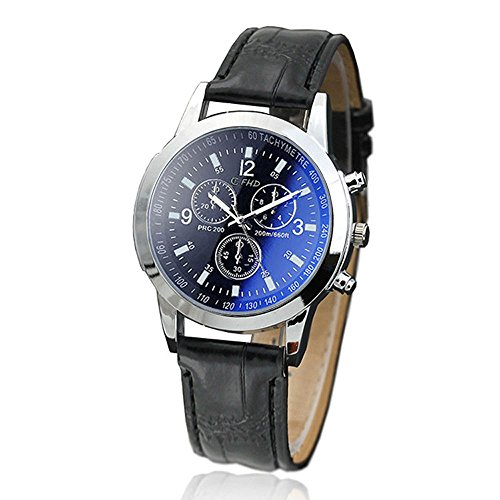 Sport Quartz Watch,Alalaso Men's Casual Imitation Leather Belt Hour Wrist Analog Watch (C)