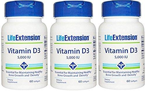 Vitamin D3 5000 IU Life Extension 60 Softgel (60 x 3)