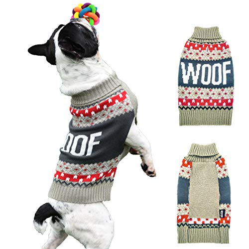 azuza Dog Sweater Turtle Dog Knit Pullover Back Length 12 Fall Winter Warm for Small Dogs