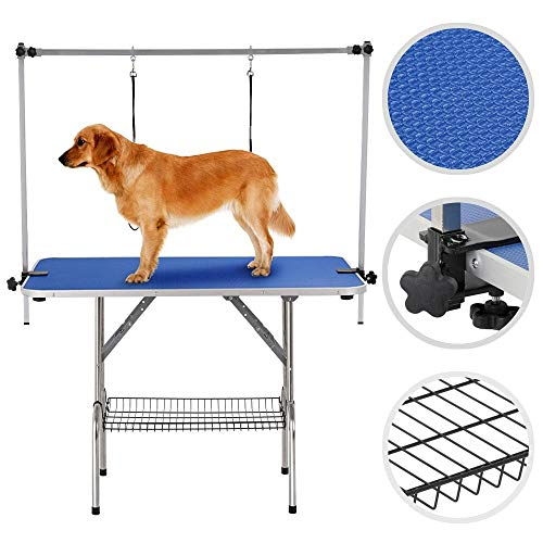 Yaheetech Pet Grooming Table for Large Dogs Adjustable Height – Portable Trimming Table Drying Table w/Arm/Noose/Mesh Tray Maximum Capacity Up to 331Lb Blue 47in x 24in