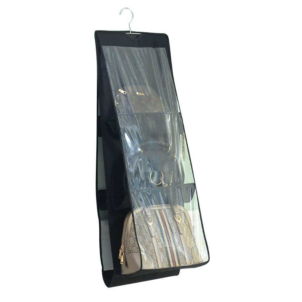 6 Pocket Handbag Anti-dust Cover Clear Hanging Handbag Organizer Dust-Proof Purse Clutch Storage Holder Bag Wardrobe Closet Space Saver 2 Packs HZC85 (Black, 2 Pack)
