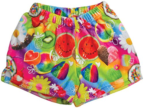 - iscream Big Girls Silky Soft Print Plush Shorts - Tutti Fruiti, Medium (10/12)