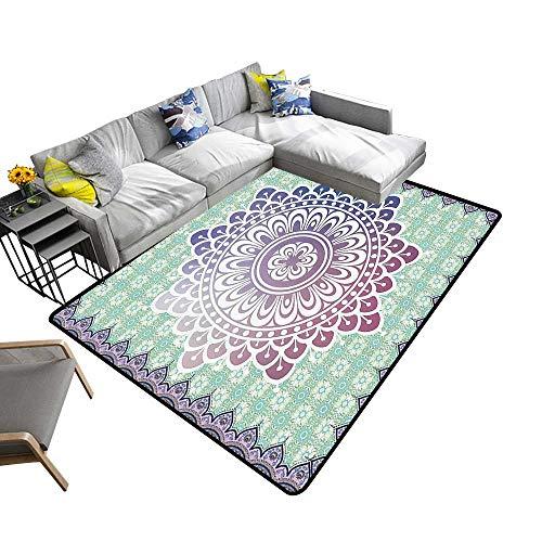 Ethnic Area Rug Carpet Microcosm Authentic Mandala with Floral Petal Forms in Soft Pastel Tone Illustration Art Door mat 6'6