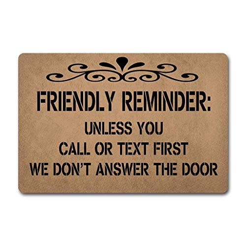 Needyounow Funny Words Saying Friendly Reminder, Humor Polyester Welcome Door Mat Rug Indoor Mats Decor Rug for Home/Office/Bedroom Skiding-prooof,23.6