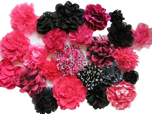 YYCRAFT 15pcs Hot Pink/Black Chiffon Lace Hair Flower for Girls Headband Baby Flowers Bows,Crafts,Party Decoration(2
