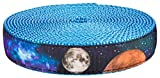 Country Brook Design 1in Galactic Neighbors on Ice Blue Nylon Webbing, 5 Yards