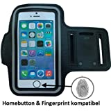 CoverKingz Apple iPhone 7 Sportarmband Fitness Hülle Jogging-Armband Lauf-Tasche Homebutton und Fingerprint kompatibel Running-Case schwarz gym