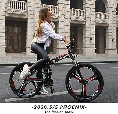 AISHFP 26 Pulgadas Bici de montaña Plegable, Bastidor de suspensión Completa Bicicletas Playa Nieve, Ciudad Propósito Camino de la Bicicleta Edad Hombres Mujeres General,Blanco,21 Speed: Amazon.es: Deportes y aire libre