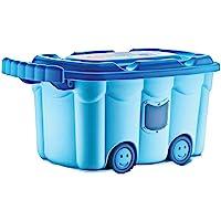 BABYJEM 8681049215376 Tekerlekli Oyuncak Kutusu Mavi, Mavi