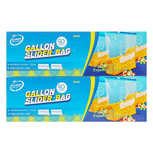 FUFRESH Gallon Slider Freezer Bags 100ct (2 * 50ct), with Expandable Bottom and Smart Package for Food Storage and Food Freezer ()
