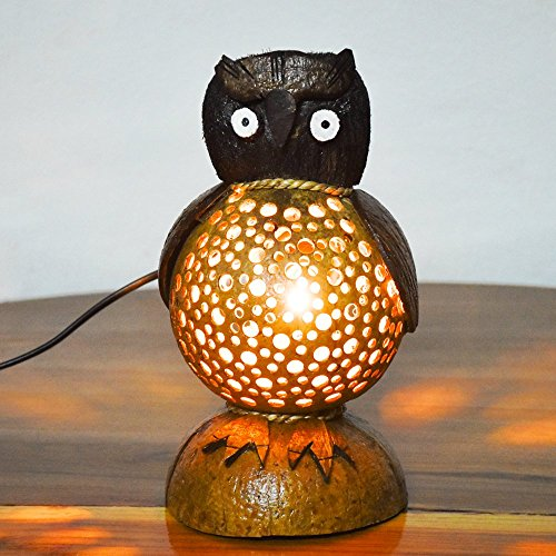 Coconut Shell Lamp – Owl Lamp night Wooden Crafts Handmade decorative by Lantern Coconut Shell (Image #1)