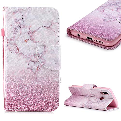 Cistor Wallet Case for Huawei P20 Lite,Fancy 3D Painting Magnetic Closure Flip Cover Shockproof PU Leather Stand Protective Case with Wrist Strap Card Slot for Huawei P20 Lite,Pink ()