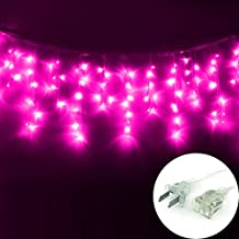 DODOLIGHTNESS New 3m x 0.5m 100 LED Icicle Ice Bar Lamp Shimmering Fairy Lights 8 Light Mode for Wedding Christmas Party Holiday (Pink)
