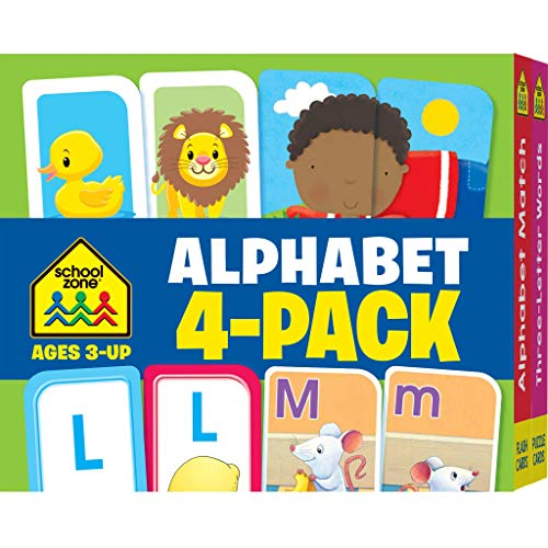 Letter Flash Cards - School Zone - Alphabet Flash Cards 4-Pack - Ages 3 and Up, Lowercase and Uppercase Letters, Letter-Picture Recognition, Beginning Sounds, and More (Flash Card 4-pk)