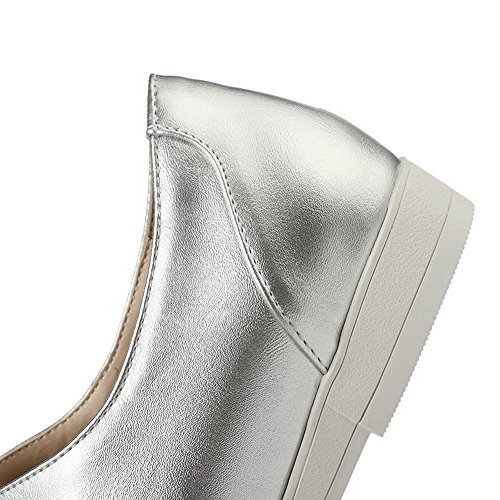 Solid AmoonyFashion Heels Shoes Silver Low Toe Up Womens Lace Closed Pumps Pointed XwqYXgr