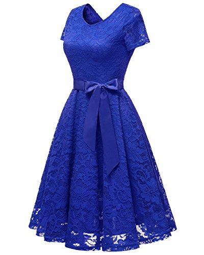 Robe Robe en V Royal de Dentelle de Bridesmay de soire Courtes avec col Blue Manches Demoiselle d'honneur Ceinture Cocktail dzC77TWBq